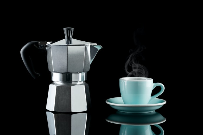 Moka Pot: Pressurized Boiling Water is Passed Through Ground Coffee