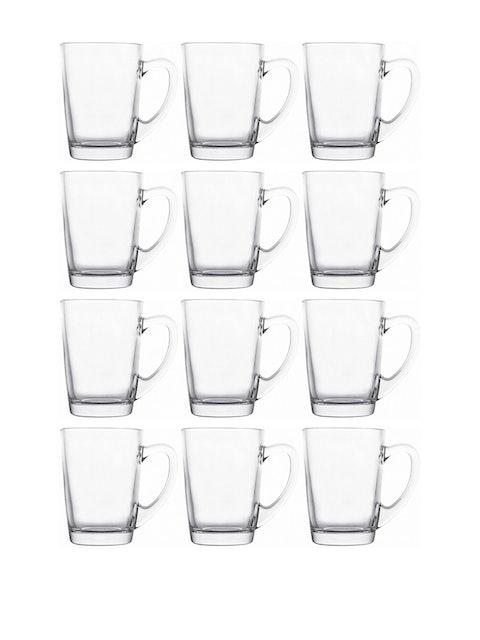 GOODHOMES Set Of 12 Transparent Solid Fresco Glass Mugs 1