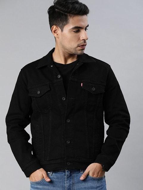 Levi's Men Black Washed Denim Trucker Jacket 1