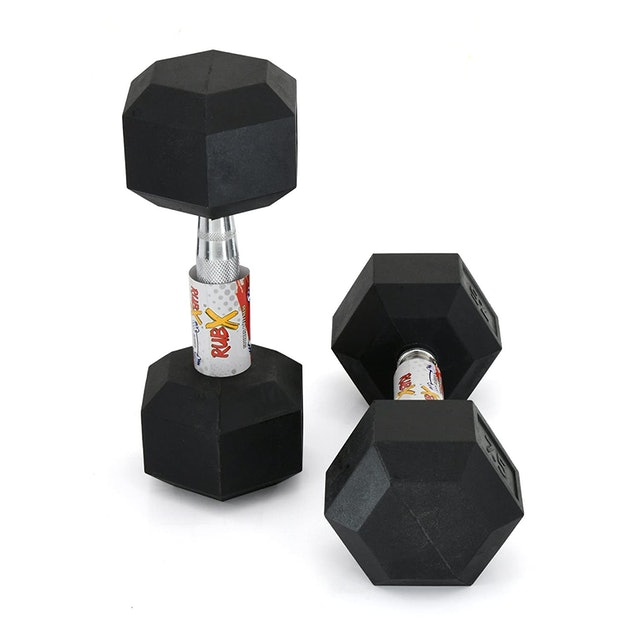 RUBX Rubber Coated Professional Exercise Hex Dumbbells 1