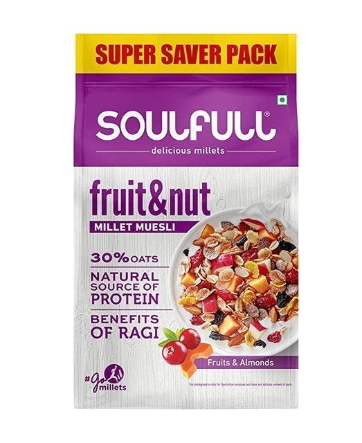Soulfull  Millet Muesli Fruit & Nut with Almonds & Real Fruits, 700 g 1