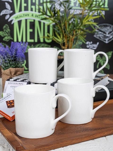 GOODHOMES Set of 4 White Solid Bone China Tea & Coffee Mugs 1