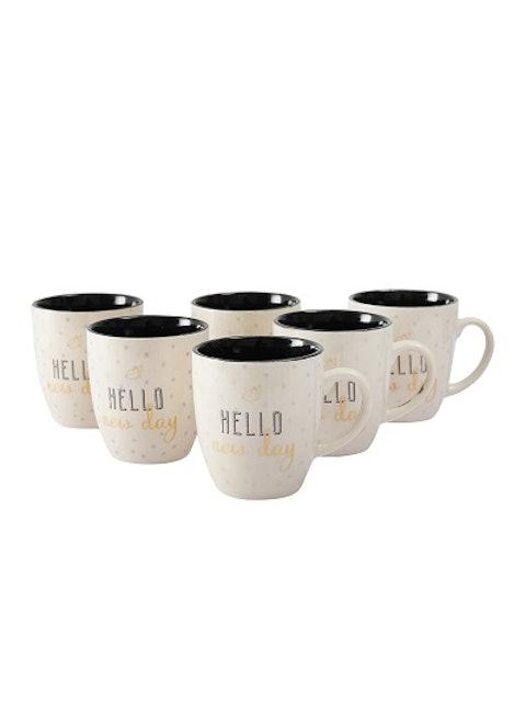 CDI White & Brown 6-Pieces Printed Ceramic Mugs Set 1