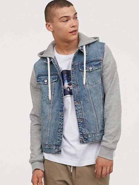 H&M Men Blue & Grey Hooded Denim Jacket 1