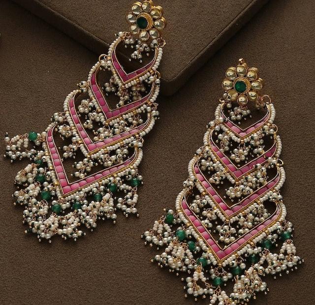 Katri Pink Gold Plated Kundan Earrings 1