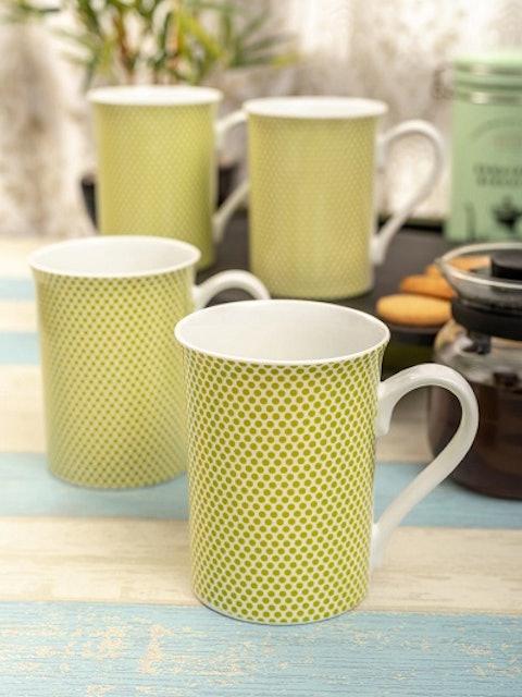 SONAKI Green 4 Pcs Printed Bone China Mug Set 1