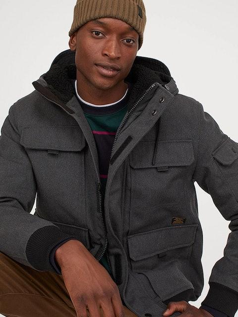 H&M Men Grey Padded Hooded Jacket 1
