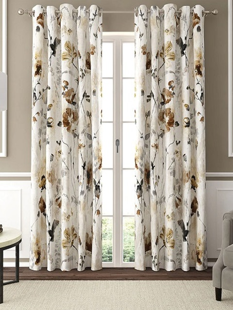 GMF White & Beige Floral Printed Door Curtains 1