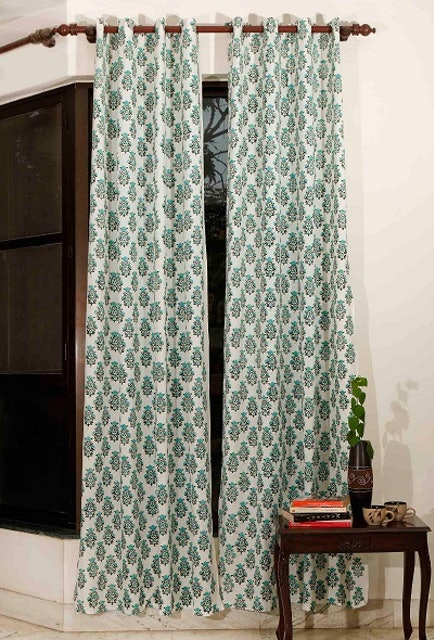 TJORI Aqua Teal Handblock Cotton Curtains 1