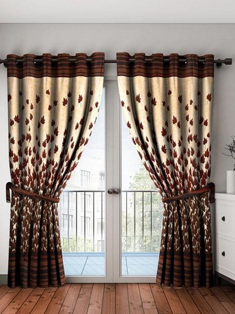 Home Sizzler Brown & Beige Set of 2 Door Curtains 1