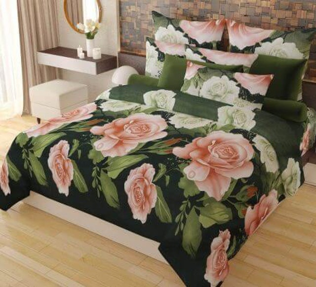 Home Candy  Elegant Floral Print Double Bed Sheet 1