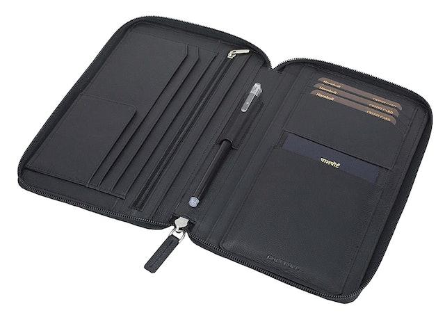 HORNBULL Black Leather Travel Document Holder 1