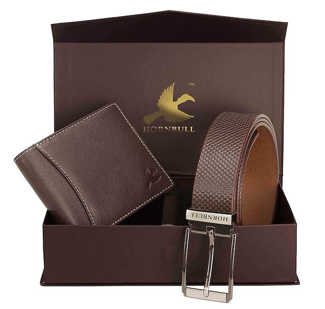 Hornbull Men's Brown Wallet and Belt Combo 1