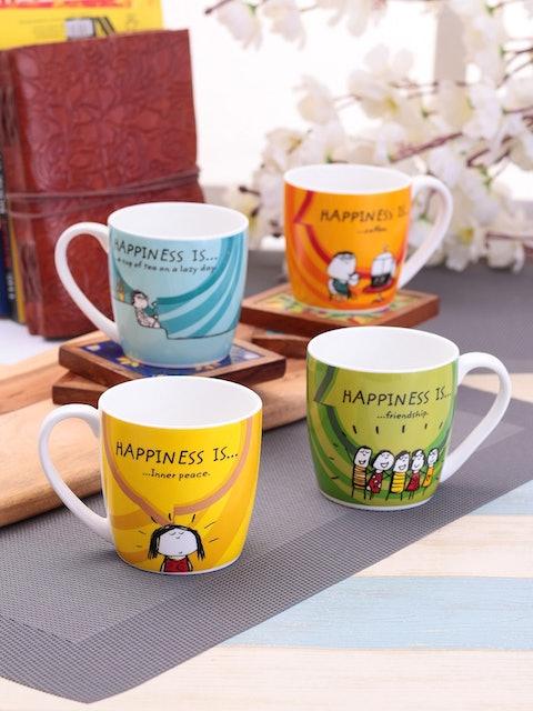 Clay Craft Set of 4 Printed Ceramic Coffee Mugs 1
