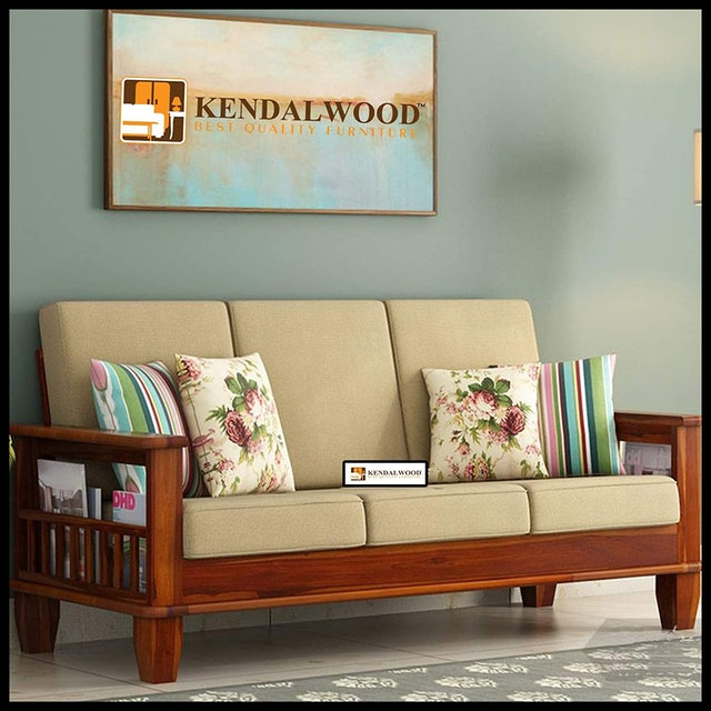 Hariom Handicraft Sheesham Wood Honey Finish 3 Seater Sofa Set 1