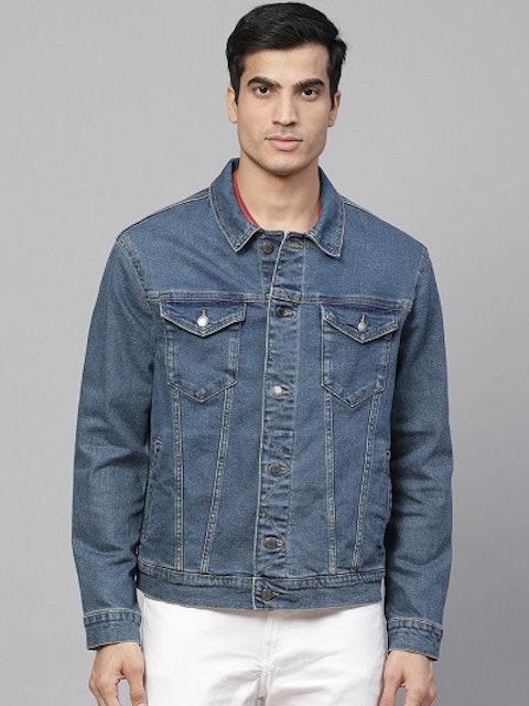Marks & Spencer Men Blue Slim Fit Solid Denim Jacket 1