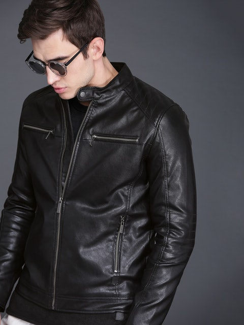 Wrogn Black Solid Biker Jacket 1
