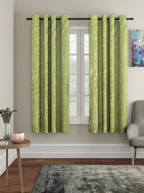 Cortina Green Set of 2 Window Curtains 1