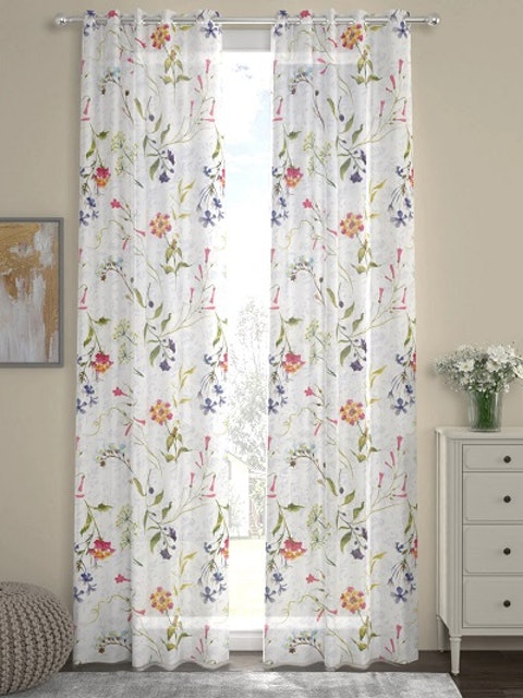 ROSARA HOME White & Red Floral Print Set of 2 Door Curtains 1