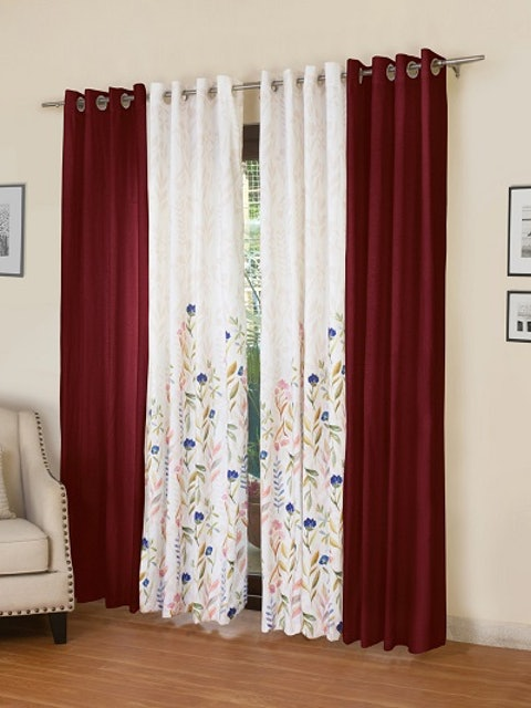 ROSARA HOME Maroon & White Set of 4 Door Curtains 1