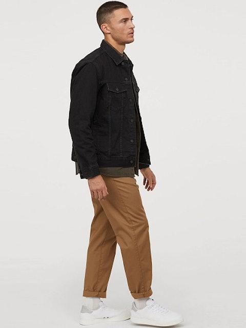 H&M Men Black Solid Denim Sustainable Jacket 1
