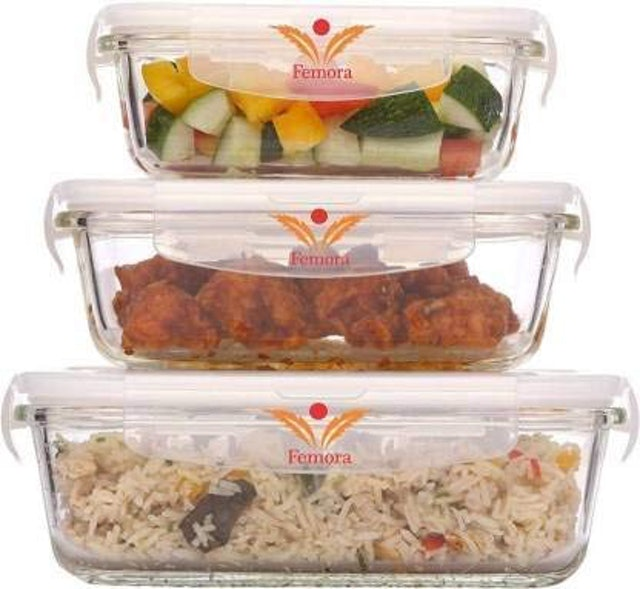 Femora  Borosilicate Rectangular Glass Food Storage Container With Air Vent Lid 1