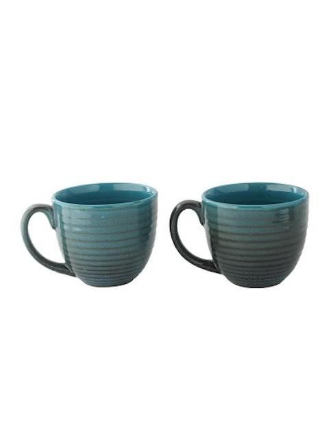 Aapno Rajasthan Set of 2 Blue & Brown Textured Ceramic Coffee Mug 1