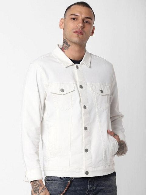 Jack & Jones Men White Solid Denim Jacket 1