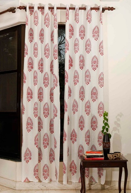 TJORI Ivory Red Handblock Cotton Curtains 1