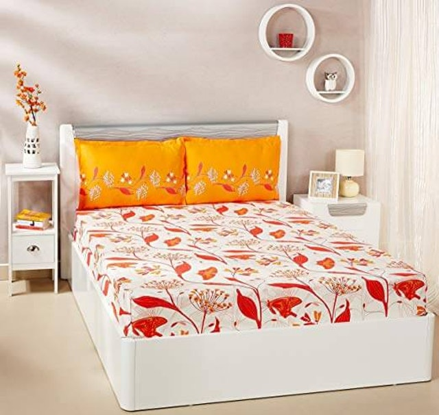 Solimo  Lily Bloom Double Bed Sheet 1